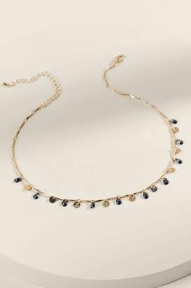francesca's Carlene Coin & Crystal Drop Necklace - Black