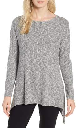 Gibson Ribbed Cozy Fleece Twist Back Top