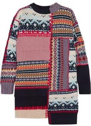 Alexander McQueen Patchwork Chunky-Knit Wool-Blend Dress