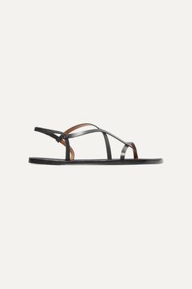 Atelier ATP Lizza Leather Slingback Sandals - Black