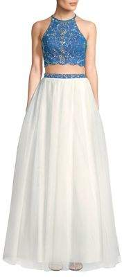 Blondie Nites Two-Piece Beaded Halterneck Top and Ball Skirt Set