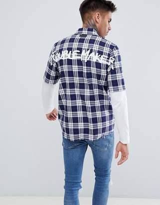 Just Junkies Boxy Check Back Print Shirt