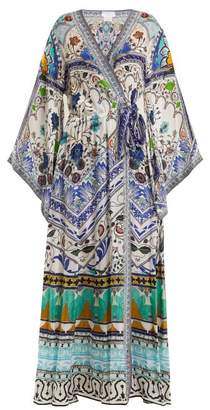 Camilla - Long Sleeve Kimono Maxi Dress - Womens - Green Multi