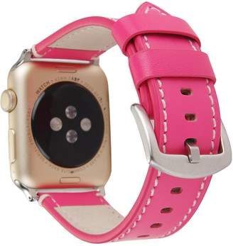 Rykimte WristBand For Apple Watch iWatch 38 mm Strap Wrist Band Replacement Clasp Leather Bracelet Watchband With Adapter For Woman Girls