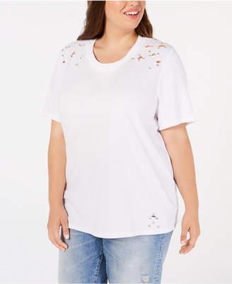 Soprano Trendy Plus Size Cotton Ripped T-Shirt
