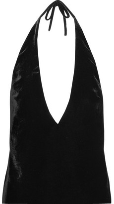 Velvet Halterneck Top - Black