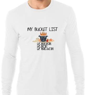 Hollywood Thread My Bucket List - Beer Ice and Beach - Awesome Graphic Men's Long Sleeve T-Shirt
