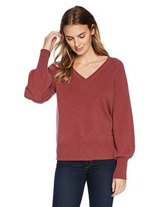 Lark & Ro Women's Sweaters V Neck Cashmere Sweater with Bell Sleeves