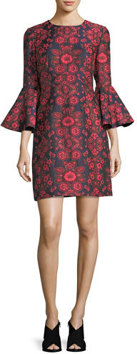 Trina Turk Floral Jacquard Bell-Sleeve Cocktail Dress