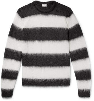 Saint Laurent Distressed Striped Mohair-Blend Sweater