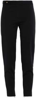 Versace Leather-Trimmed Stretch-Crepe Skinny Pants