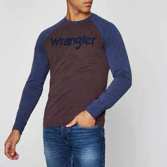 Wrangler Mens Brown flocked raglan T-shirt