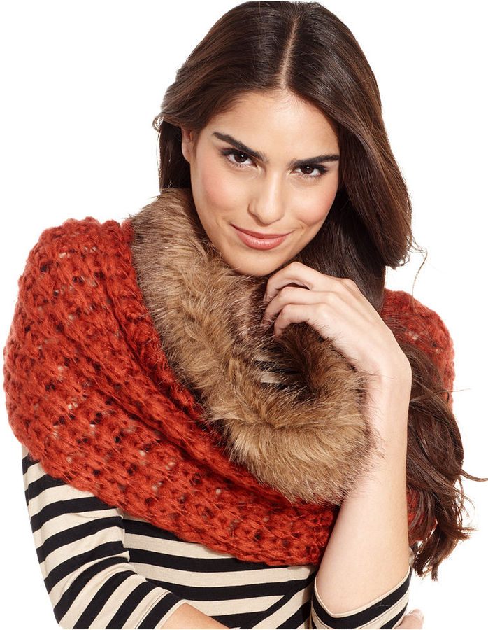 Collection XIIX Scarf, Cowl-Neck Chunky Knit Scarf with Faux Fur