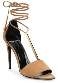 Pierre Hardy Blondie Suede& Metal Ankle-Tie Sandals