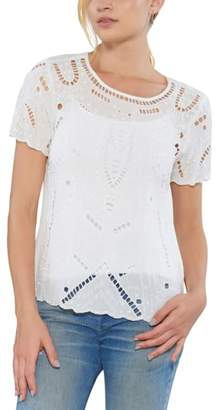 Willow & Clay Embellished Cutout Tee