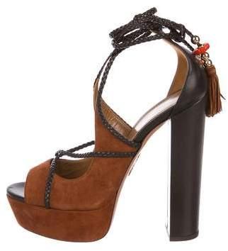 Aquazzura Poppy Delevingne x Suede Wrap-Around Sandals