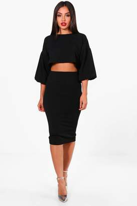 boohoo Puff Ball Sleeve Top and Midi Skirt Set
