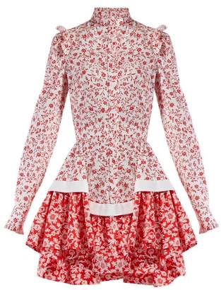 Alexander McQueen Floral Print Ruffled Cotton Poplin Mini Dress - Womens - Red White