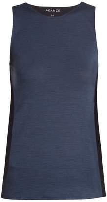 AEANCE Bi-colour wool-blend performance tank top