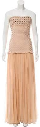 Herve Leger Embellished Basket Weave Gown