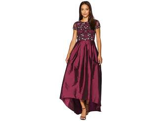 Adrianna Papell Cap Sleeve High-Low Gown with Beaded Bodice and Taffeta Skirt