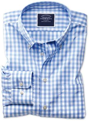 Charles Tyrwhitt Slim Fit Non-Iron Sky Blue Gingham Poplin Cotton Casual Shirt Single Cuff Size Small