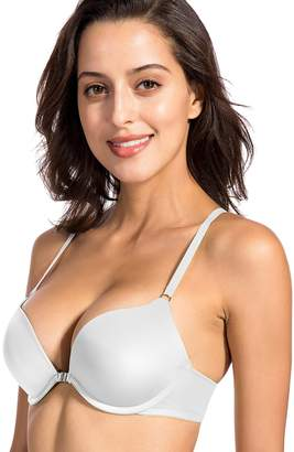 0190fab243 Dobreva Women s Smooth Front Closure Padded Push Up Underwire X-back Plunge  Bra