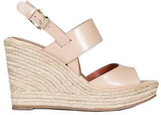 Santoni Leather Wedge Sandals