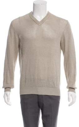 Theory Linen V-Neck Sweater