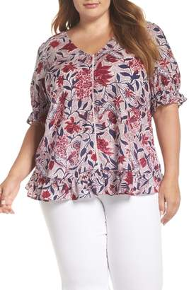 Lucky Brand Floral Puff Sleeve Top