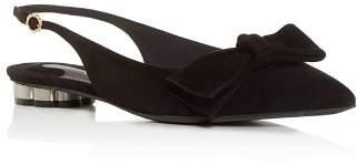 Salvatore Ferragamo Women's Aulla Suede Slingback Flower Heel Flats