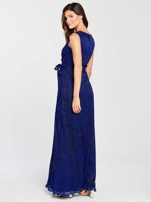 220914487f Phase Eight Noelle Pleated Lurex Wrap Maxi Dress - Cobalt