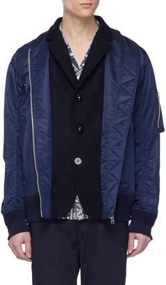 Sacai Melton blazer panel bomber jacket