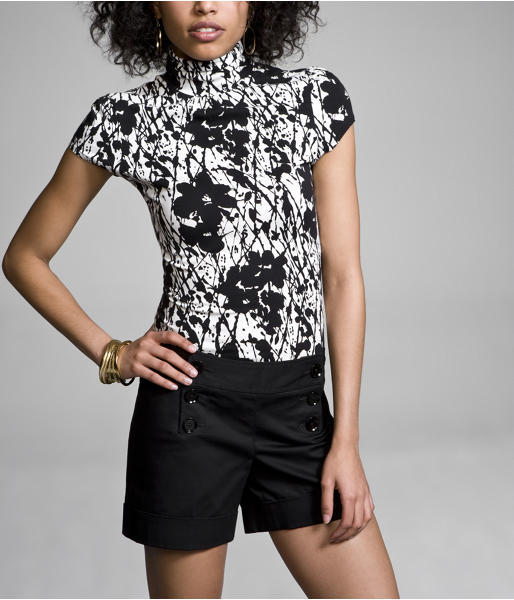 Luxe Stretch Short-Sleeve Mock-Neck Top
