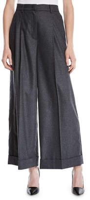 Escada Trinela Pleated Wide-Leg Grosgrain Wool-Blend Pants w/ Tux Stripe
