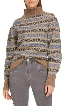 Etoile Isabel Marant Ned Fair Isle Turtleneck Wool Sweater