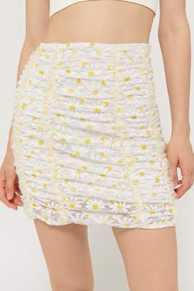 For Love & Lemons Brulee Daisy Ruched Mini Skirt
