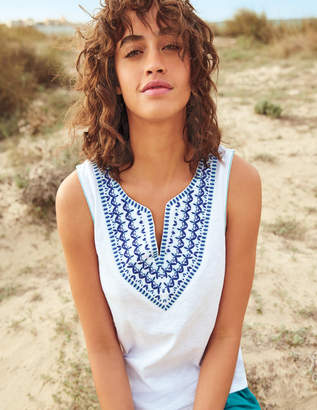 Boden Embroidered Notch Neck Top