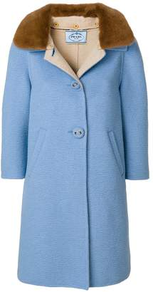 Prada three-quarter length sleeve coat with mink fur collar