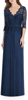 Jenny Packham Bridesmaids V-Neck 3/4-Sleeve Crepe Bridesmaids Dress w/ Marquis Lace Bodice