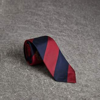 Burberry Modern Cut Archive Logo Striped Silk Tie