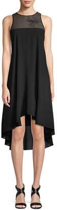 Halston Sleeveless Embroidered Flowy Dress