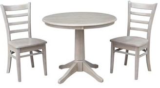 """INC International Concepts Wood 36"""" Round Dining Table and 2 Emily Chairs in Washed Gray Taupe - Set of 3"""