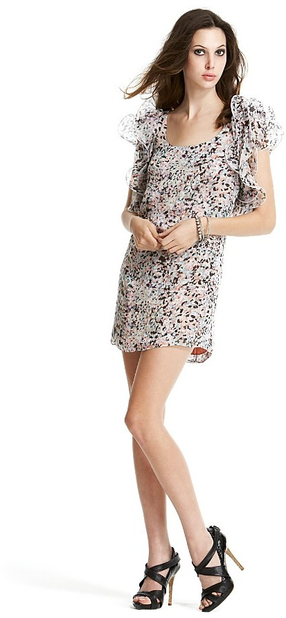 Catherine Malandrino Floral-Print Silk T-Shirt Dress with Couture Sleeves