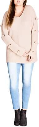 City Chic Eyelet Sleeve Sweater