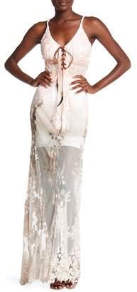 Sky Lace-Up Crochet Lace Dress
