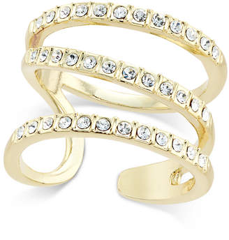 INC International Concepts Inc Gold-Tone Triple Band Pave Statement Ring