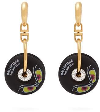 Balenciaga Motorbike Wheel Earrings - Womens - Black