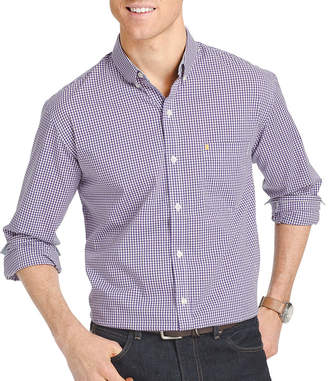 Izod Advantage Performance Stretch Slim Fit Long Sleeve Gingham Shirt