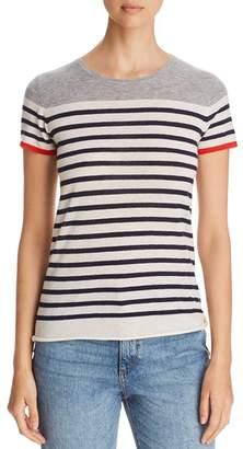 Majestic Filatures Striped Color Block Cashmere Short-Sleeve Sweater